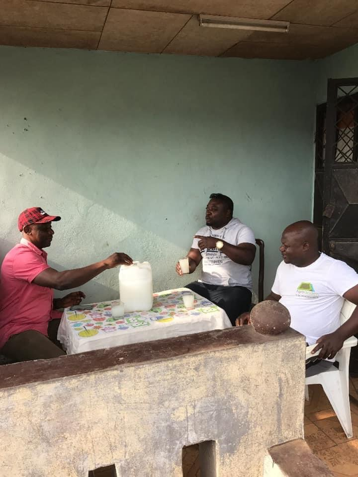 Drinking palm wine with my childhood friends